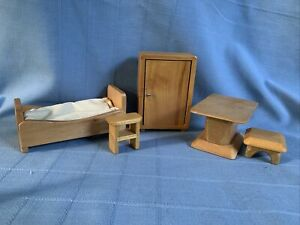 Vintage German Dollhouse Doll Miniature furniture Wood Bed Table Closet Bench