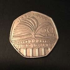 2000 150 Years of Public Libraries 50P  Coin