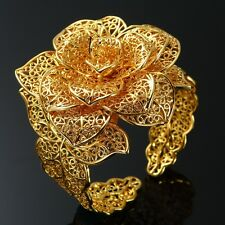24K Yellow Gold Filled ROSE Bangle Bracelet Cuff For womens Bridal Xmas Gift