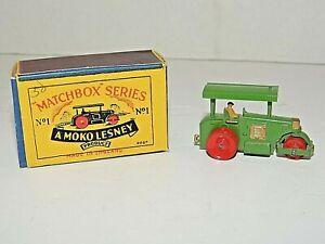 "Vintage Moko Lesney Matchbox No.1 Diesel Road Roller 2"" Long, Original Box, NrMT"
