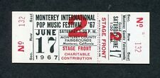 Original 1967 Monterey Pop Festival Unused Full Concert Ticket Janis Joplin