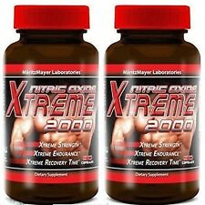 2 Bottles XTREME NITRIC OXIDE Extreme 2000 L-ARGININE Build Muscle 2400MG 90CAPS