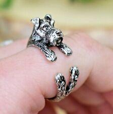 Schnauzer Dog Ring - Adjustable Wrap Animal Ring - Silver Puppy Love Gift