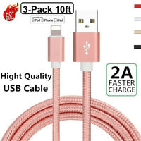 3Pack 10Ft USB Quick Charger Heavy Duty For iPhone 8 7 6Plus Cable Charging Cord