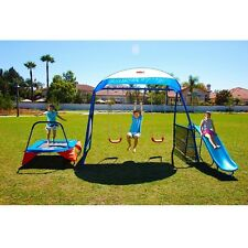 Swing set Playground Backyard Trampoline Slide Monkey Bar Kids Gym Outdoor Metal