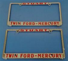 NOS Vintage Ford Dealership License Plate FRAME Pair Stuart Twin Ford Mercury