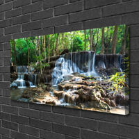 Canvas print Wall art on 100x50 Image Picture Waterfall Forest Nature