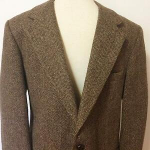 Anderson Little 100% Wool Mens Sport Jacket Herringbone Brown Tweed Custom Sz S