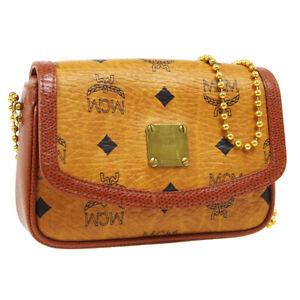 MCM Cognac Visetos Ball Chain Shoulder Bag K7732 Brown Black Leather AK38223b