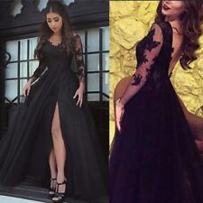 Long Sleeve Black Tulle Party Evening Dress Lace Appliques Slit Prom Formal Gown