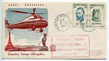 LETTRE  PREMIER VOL PARIS / BRUXELLES PAR HELICOPTERE 1957  HELIPOST