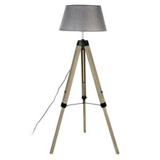Harper Floor Standard Standing Lamp Grey Wood Tripod Base Fabric Shade UK Plug