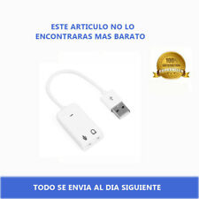 Adaptador Tarjeta de Sonido USB 2.0 Audio Sound Card para PC Jack 3,5mm Blanco
