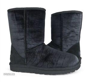 UGG Classic Short II Croc Black Velvet Fur Boots Womens 9 *NIB*