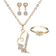 Womens Cross Love Heart Pendant Necklace Earrings Ring Wedding Jewellery Sets