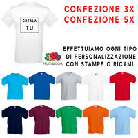 Maglietta t-shirt Maniche Corte Bianca Colorata Uomo Bambino Fruit of the Loom