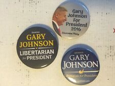 3 Lot Gary Johnson For President 2016 Libertarian Campaign Pin Buttons 2020