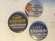 3 Lot Gary Johnson For President 2016 Libertarian Campaign Pin Pinback Buttons