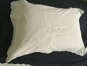 White COTTON PILLOWCASES x 4 Ribbon Cutwork Embroidered French Vintage style