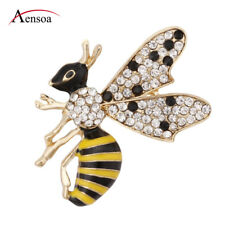 Vintage Enamel Crystal Yellow Wasp Bee Insect Brooch Pin for Women Kids Jewelry