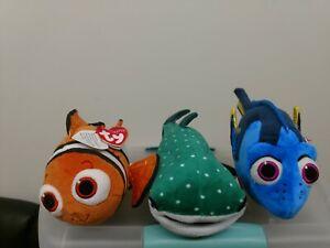 Ty beanie babies Disney Sparkle 3 Piece Combo of Dory, Nemo & Destiny