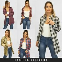 New Womens Long Sleeve Ladies Check Shirt Spring Summer Plaid Check UK S - 2XL