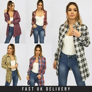 New Womens Long Sleeve Ladies Check Shirt Spring Summer Plaid Check UK S - 2XL