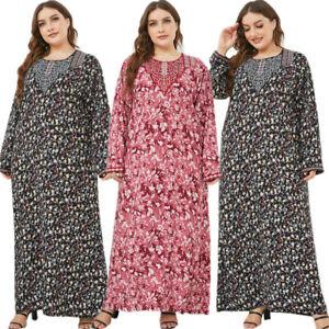 Floral Women Abaya Muslim Long Dress Spring Kaftan Jilbab Islamic Cocktail Robe