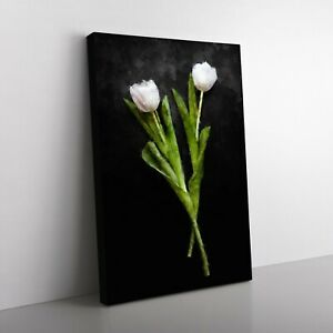 Two White Tulips Painting Wall Art Canvas Print
