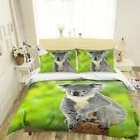 3D Cute Gray Koala P275 Animal Bed Pillowcases Quilt Duvet Cover Set Queen Kay