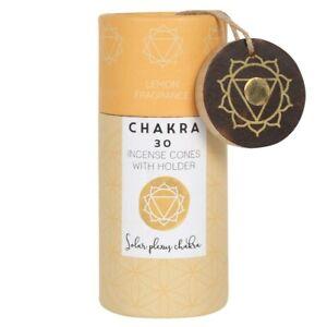 30 Solar Plexus Chakra Incense Cones - Lemon - with Ash Catcher - Boxed