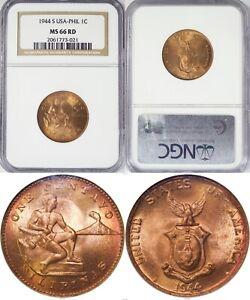 1944-S US/Philippines 1 Centavo ~ NGC MS66 RED ~ Allen#3.06 ~ 021