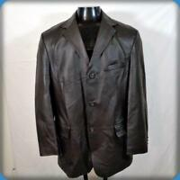STAFFORD Classic Soft Leather Blazer JACKET Coat Mens Size M brown