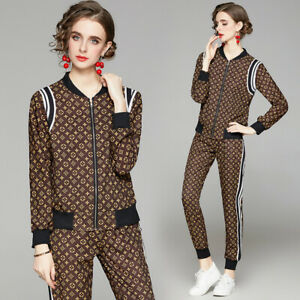 Spring Summer Fall 2pcs Women Sets Floral Print Jacket Coat Pant Suits Outfits