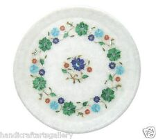 """10""""x10"""" Marble Serving Tray Plate Rare Multi Stone Mosaic Inlay Home Decor Gifts"""