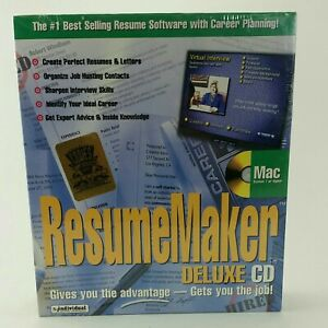 Mac ResumeMaker Deluxe CD. System or higher. New. Sealed. Fast Powerful #8-1