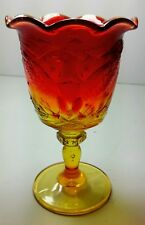 Vintage Cranberry Red Amberina Pressed Glass Candy Dish Vase Eagle & Stars