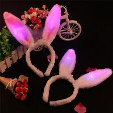 Children Kids  Flash LED Light Sequins Plush Bunny Rabbit Ear Headband HairbandT