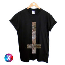 INVERTED CROSS PRINTED T SHIRT MENS LEOPARD PRINTED RELIGION GOTHIC SWAG TOP MAN