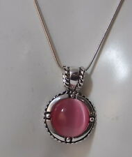 Cute Luminous  Pink Moonglow Glass Pendant Silver Snake Chain Necklace  4d 57