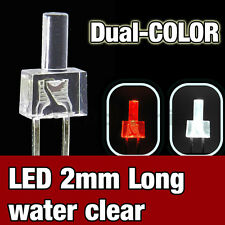737/10# LED 2mm dual color red and  White  -  10pcs - water clear