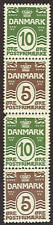DENMARK Facit 95SX4, se-tenant Paste-up strip of 4, og, NH