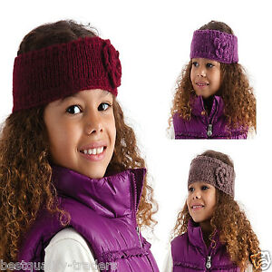 Girls Knitted Headbands with Crochet Flower One Size  Maroon Purple Brown