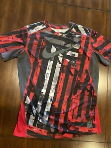 Nike Pro Combat Dri Fit Fitted Athletic Shirt Boys Size L