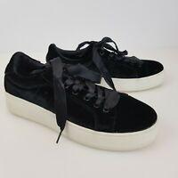 Brash Black Velvet Sneakers Tennis Shoes Size 8 Platform Goth Punk Streetwear
