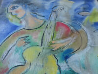 "Ivan Rane 2002 painting ""The guitarist"" inspired by Mark Chagall"