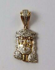 Beautiful 10K Two Tone Gold Jesus Head Charm Pendant with Diamonds - Nice!