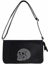 Iron Fist Skull Addiction Rhinestone Skeleton Punk Tattoo Rock Goth Bag Purse