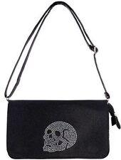 Iron Fist Skull Addiction Rhinestone Skeleton Punk Tattoo Rock Goth Bag Purse