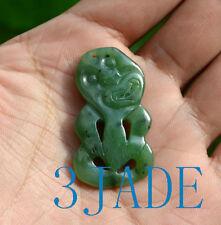 Green Nephrite Jade Maori Hei Tiki Pendant Necklace Both Sides Carved Pounamu